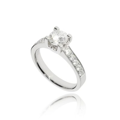 engagement rings large stone diamond shoulders 1ct diamond ring platinum white metal