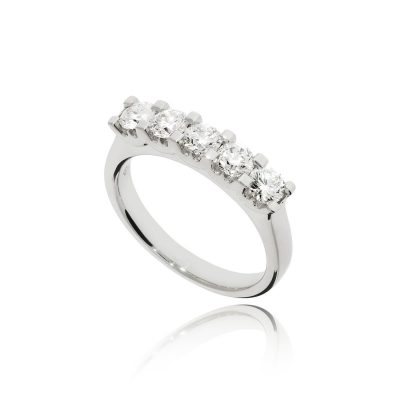 18ct white gold white metal half eternity ring five stone ring classic diamond ring