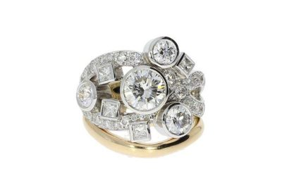 Yellow and white gold diamond dress ring