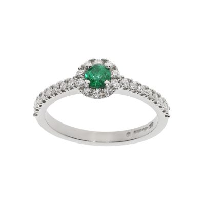 Emerald and Diamond shoulder cluster engagement ring