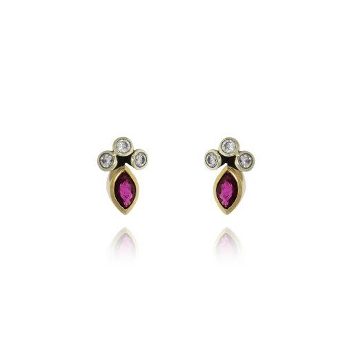Ruby & diamonds stud earrings